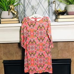 Crewcuts Coral floral cotton sheath dress Sz 10